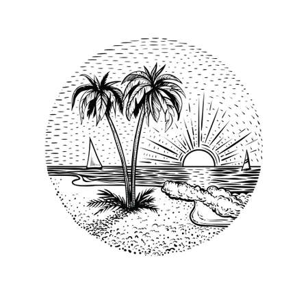 Line beach landscape with palms and sunset. Black graphic island illustration on white backgraund. Round emblem, card, tattoo or logo element. Illustration