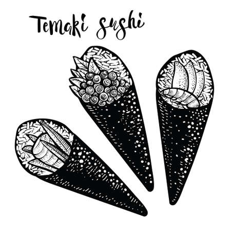 Temaki roll japanese food illustration. Engraving sketch style. Black line drawing on white background.