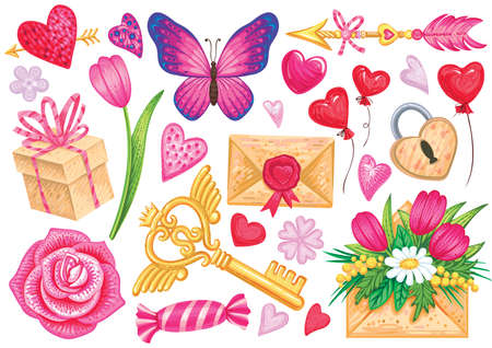 Vector elements for Valentines day or romantic design. Illustrations of hearts, flowers, balloons, butterfly, rose, arrow, gold key, sweet in cartoon style.