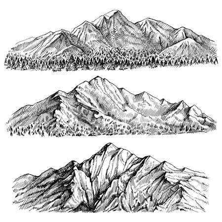 Mountains chains vector hand drawn landscape. Ridge and ranges with forest panoramic view. Isolated sketches on white background. Çizim