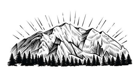 Mountains vector vintage illustration. Black and white engraving landscape with peak and forest. Ilustracja