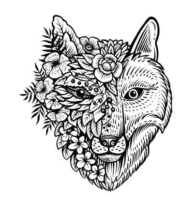 Fox head line art, vector illustration. Double exposure with fox and flowers, decorative concept. Poster, card or t shirt design.