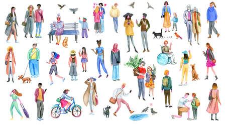 People group outdoor, watercolor sketches. Illustration of diverse stylish men and women.