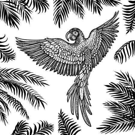 Vector flying parrot with palm leaves. Tropical summer design.