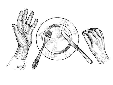 Man with empty plate. Hands, plate, fork, knife, top view. Vector line illustration. Çizim