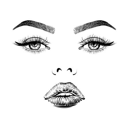 Eyes with long lashes, lips and eyebrows. Women face with makeup.
