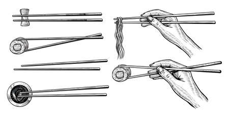 Hand holding chopsticks with sushi roll and ramen, black line drawing. Asian kitchen.