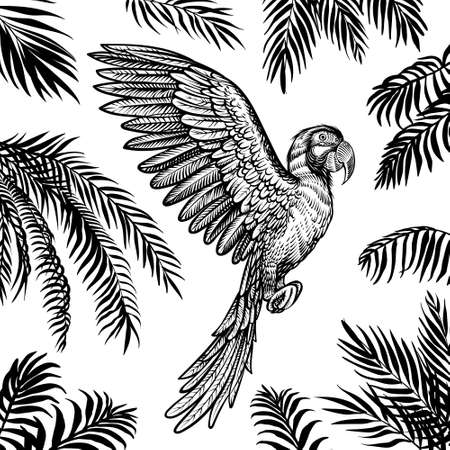 Vector flying parrot with palm leaves. Tropical summer design with black silhouette leaves and macaw.