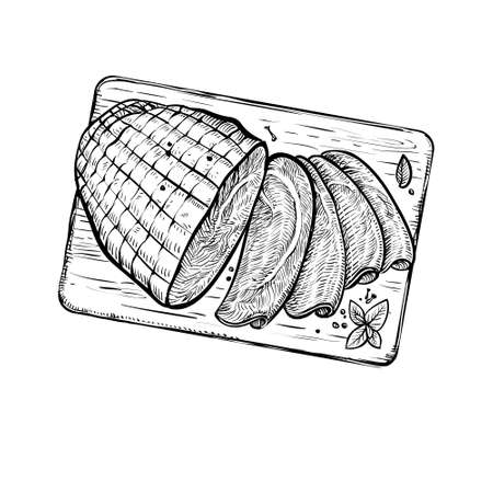 Sliced ham vector sketch. Overhead view of meat on the wooden board. Çizim
