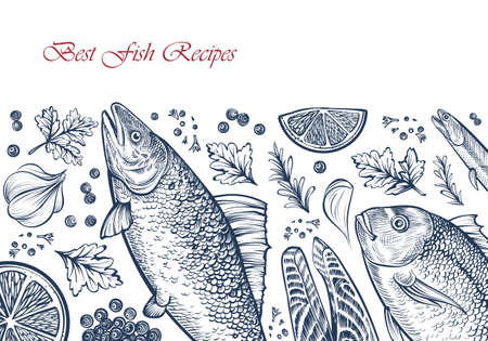Fish seafood background. Vector template with hand drawn illustrations. Salmon, dorado, fish steak, spices, parsley and lemon. Engraved style. Good for restaurant menu, card design. Çizim