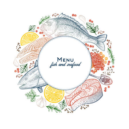 Vector frame with seafood and fish dishes. Hand drawn vintage template. Banque d'images - 145821091