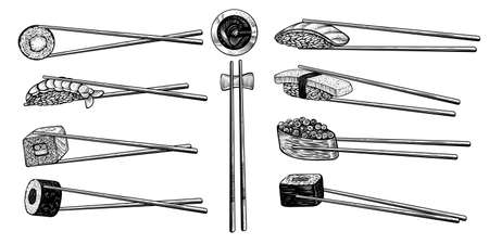 Vector chopsticks with sushi rolls, black line drawing. Asian kitchen elements isolated on white background.