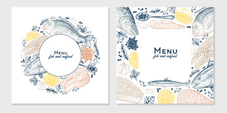 Vector frame with seafood and fish sketched dishes. Hand drawn vintage menu background. Template design. Çizim