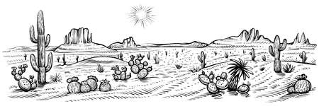 Desert panorama landscape, vector illustration. Arizona line sketch with cactuses and rocks.