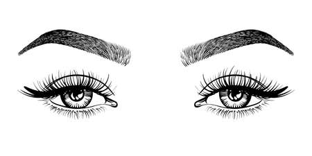 Line sketched woman eyes with long lashes and eyebrows, vector illustration. Çizim