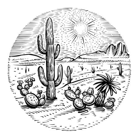 Circle desert vector. Round western landscape sketch with cactus, sunset and rocks.