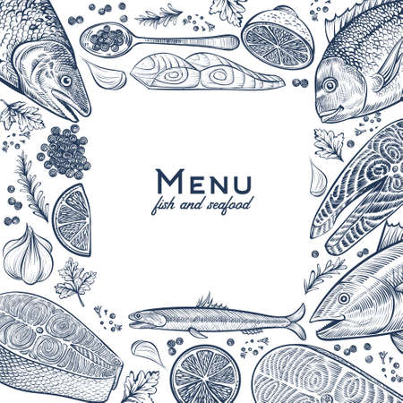 Seafood square frame with fish dishes. Vintage menu background. Template for designs. Çizim