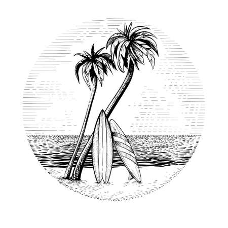 Surfboards under the palm trees, vector beach surfing round design.