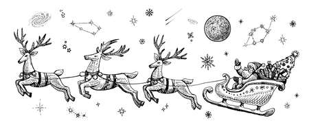 Vector Santa Claus in the night sky with stars on a sleigh with reindeers, sketch vintage illustration.
