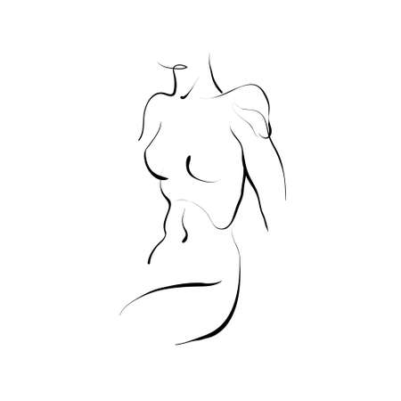 Vector woman figure drawing, line art. Female naked body. Çizim