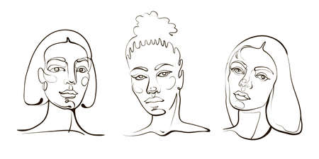 Vector woman line art portraits. Modern drawing of girl face.