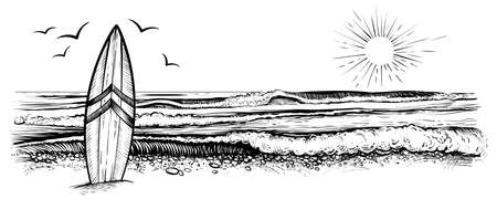 Surfing beach vector landscape, panorama view. Black and white illustration in vintage sketchy style. Çizim