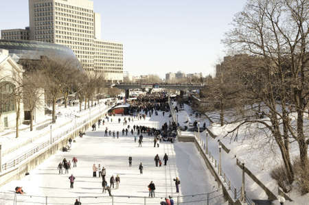 rideau canal: Rideau Canal during Winterlude in Ottawa, Canada.   Winterlude is celebrated each year.