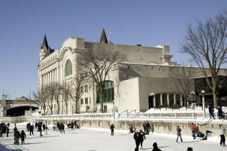 rideau canal: Celebrating winter in Ottawa Canada on the Rideau Canal Skateway Editorial
