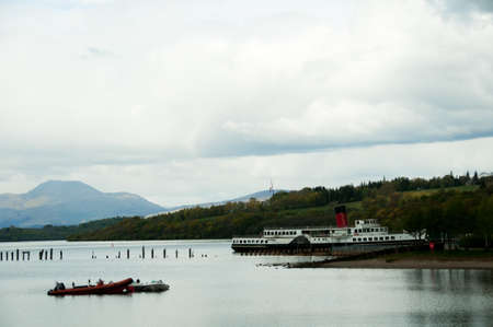 loch lomond: Loch Lomond, Scotland with the Maid of the Loch and other bots