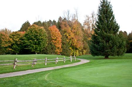 緑の側面に沿ってパスを持つゴルフコースに落ちる