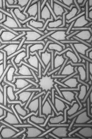 カサブランカでエル ・ ハッサンは、黒と白の詳細なパターン 写真素材