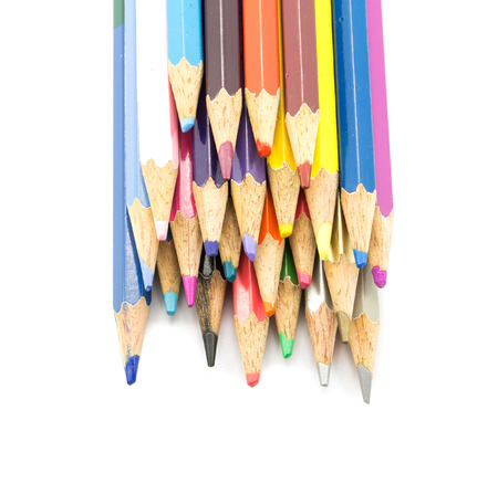 fine tip: Colorful pencils in pail