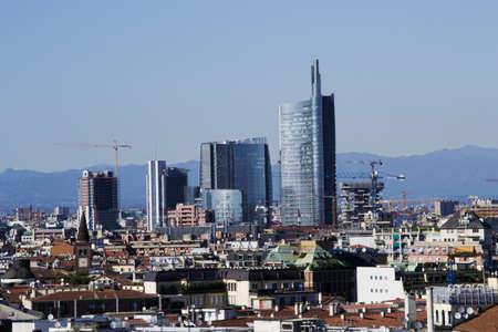 milano: Landscape panoramic of Milano - the new distcrit of garibaldiPorta Nuova  - The Alps on background