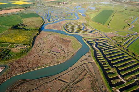 Aerial photograph of the salt marshes of Talmont-Saint-Hilaire (85440) and Le Veillon, Vendée department; Pays de la Loire region, France. Shot of April 21017