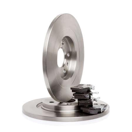 Steel brake discs for car braking system isolated on white background
