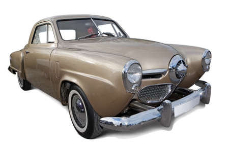 1950s brown american vintage car isolated on white background with shadows