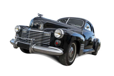 Vintage car from the 1940s, isolated on a white background with shadows