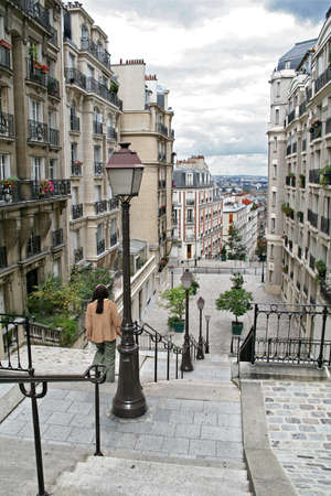 Stairway on place of Montmartre, the monument of Paris