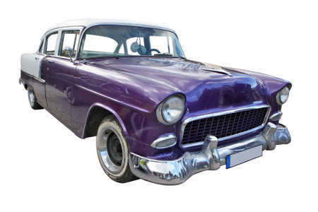 Purple vintage car isolated with pen on white bakground Éditoriale