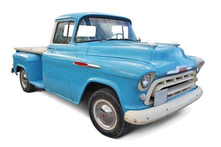 Vintage blue car isolated on white background