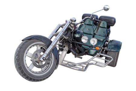 three wheel vintage motorcycle isolated on white backgroud