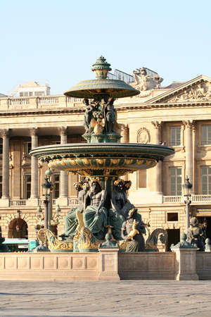 A fountain in paris at the famous place of Concorde in France