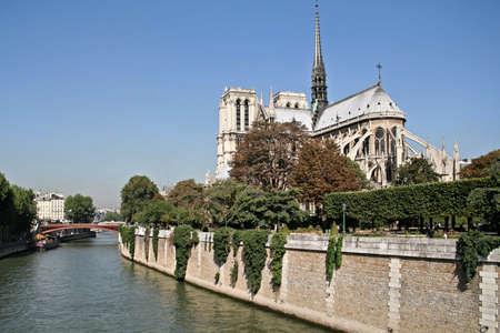Notre Dame of Paris seen from the quai de Seine. The famous and historic place of paris.