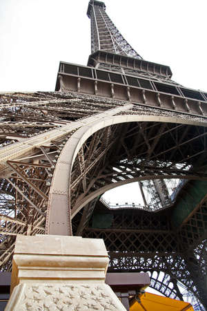 Paris in France, Eiffel tower bottom view is a traditional monument of the capital. Éditoriale