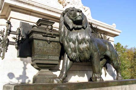 The monument on historic place of Paris, located Place de la R