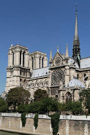 Notre Dame de Paris seen from the quai de Seine. The famous and historic place of paris.