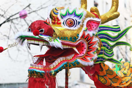 Multicolored Chinese New Year dragon in Paris .Chinese New Year is called the festival or spring festival in China. 2021 will celebrate the year of the buffalo, the tiger in 2022 Banque d'images