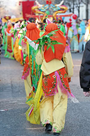 Parade and colorful clothes for Chinese New Year in Paris