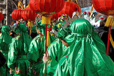Parade with Chinese New Year lanterns in 2008 in Paris in the 13th arrondissement