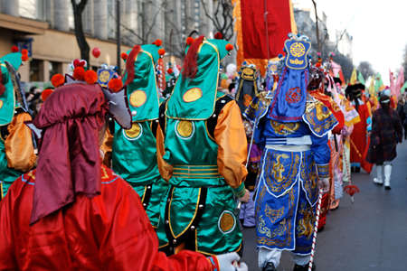 Chinese New Year Parade with Lantern in Paris, 2008, France Banque d'images